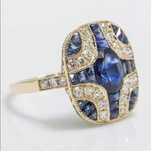 Jewelry - 24 hour sale!! natural sapphire with diamonds! 18k